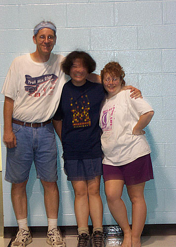 three tired people photo