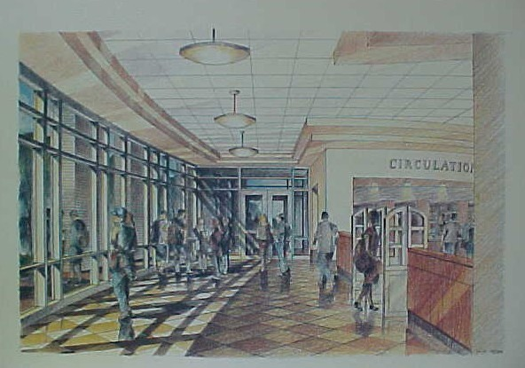 drawing of library lobby