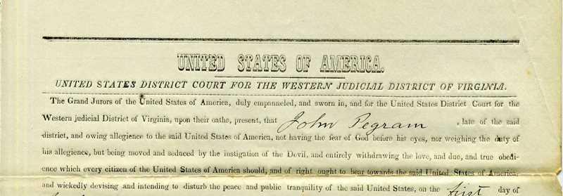 Treason Document for John Pegram