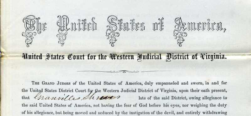 Treason document for Granville Shreves