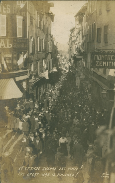 People gathering in the streets to celebrate the armistice