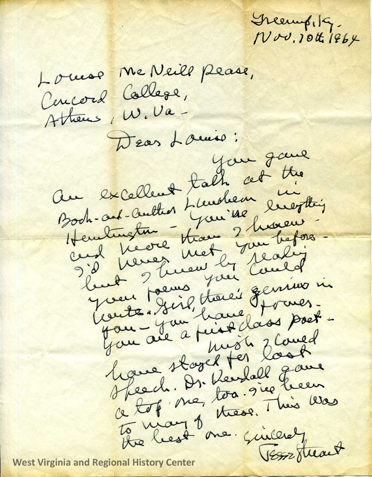 Letter from Jesse Stuart to Louise McNeill Pease, 1964
