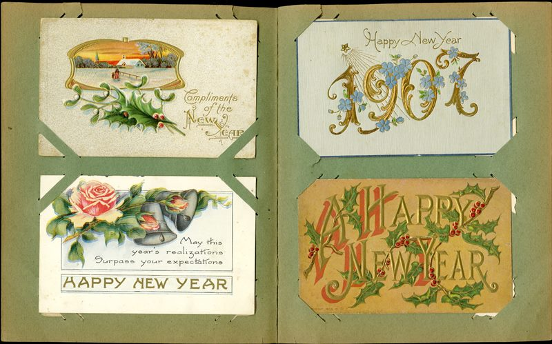 Four Happy New Year Postcards from early 1900s