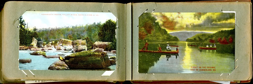 Two postcards depicting rivers in WV and MD
