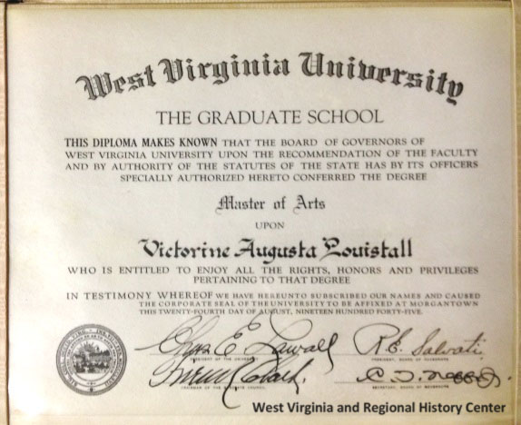 Victorine Louistall's Graduate Diploma from WVU, 1945