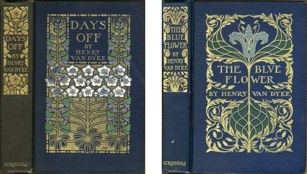 """Cover Designs for """"Days Off"""" and """"Blue Flower"""" by Henry Van Dyke"""