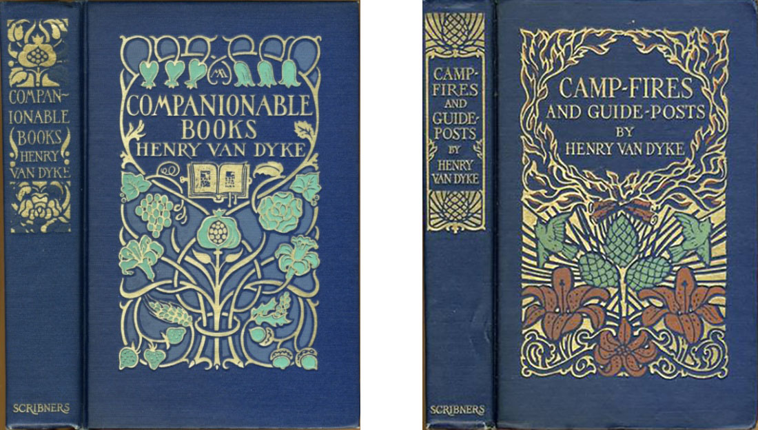 """Covers of """"Companionable Books"""" and """"Camp-Fires and Guide-Posts"""" by Henry Van Dyke"""