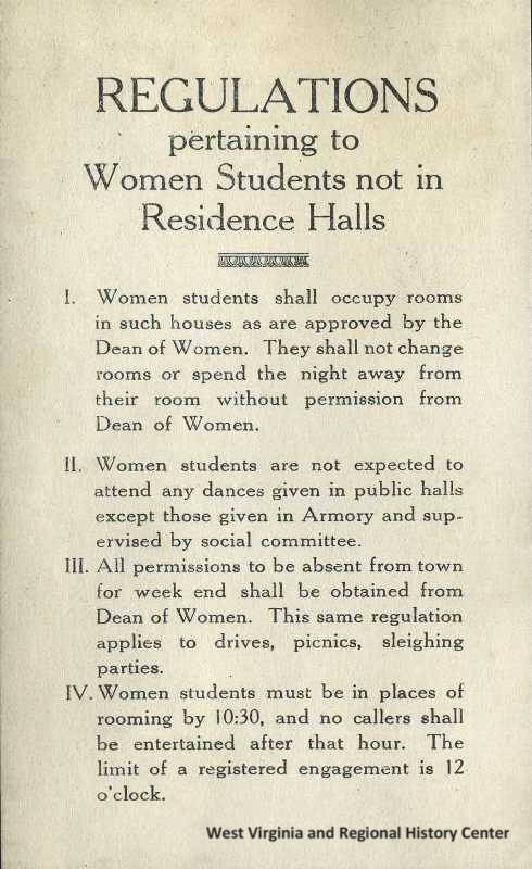 Restrictions on Female Students at WVU