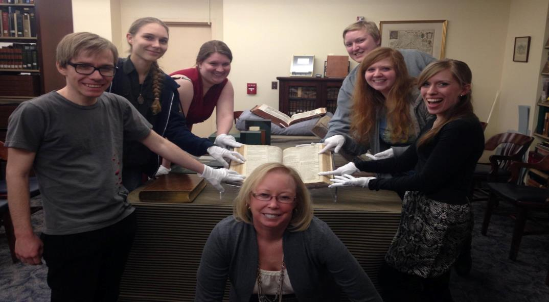 Students of English 680 Research Methods class with Stewart Plein and Shakespeare Folio