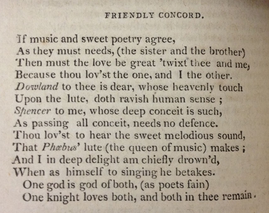 """The sonnet """"Friendly Concord,"""" on p. 156 of The Poems of Shakespeare"""