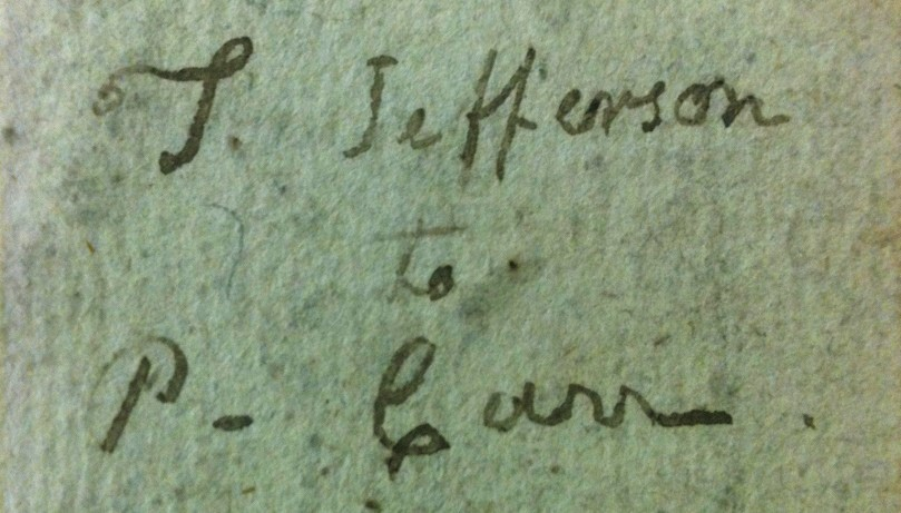 Book inscription, T. Jefferson to P. Carr