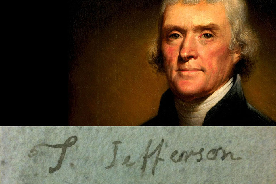 Thomas Jefferson Portrait with Signature