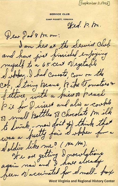 Page 1 of Ralph John's letter, September 2, 1943
