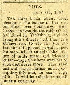 Note from July 4, 1863 printed on the Daily Citizen's July 2, 1863 issue