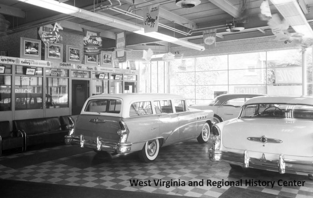 Cars on display in Hugh Stewart Motors, Charleston, West Virginia, June 29, 1955