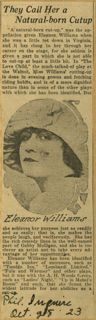 Eleanor Williams Scrapbook Clipping