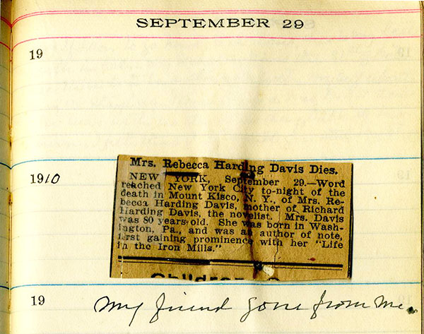 Diary entry with newspaper clipping