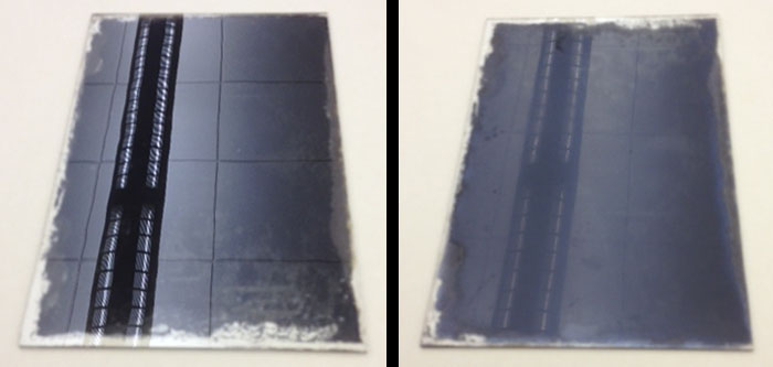 The glass side and the emulsion side of a glass plate negative.
