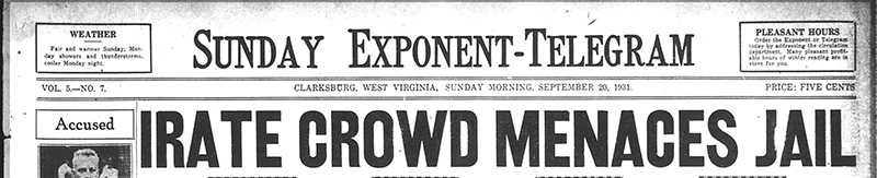 "Newspaper Headline ""Irate Crowd Menaces Jail"""