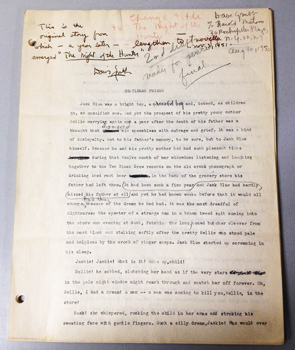 "Edited Manuscript of ""Gentlemen Friend"""