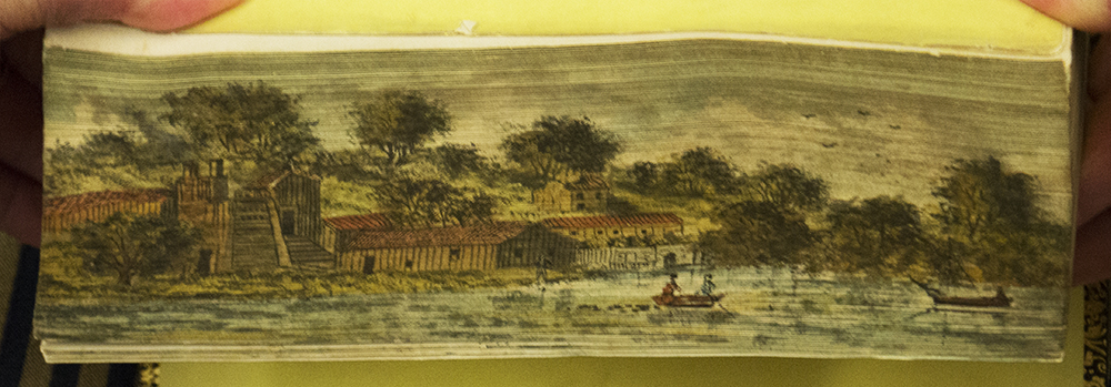 Fore-edge painting of Rolling Mill at Antietam
