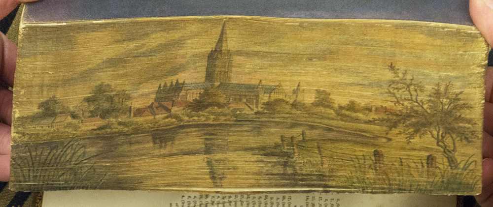 Fore-edge painting of Salisbury Cathedral