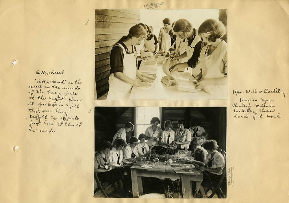 Scrapbook page with photos of women making bread and baskets