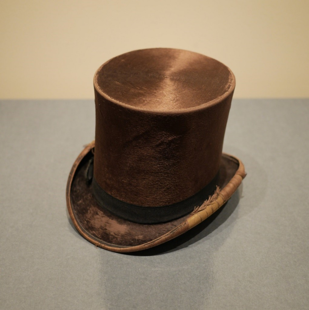 Brown silk top hat