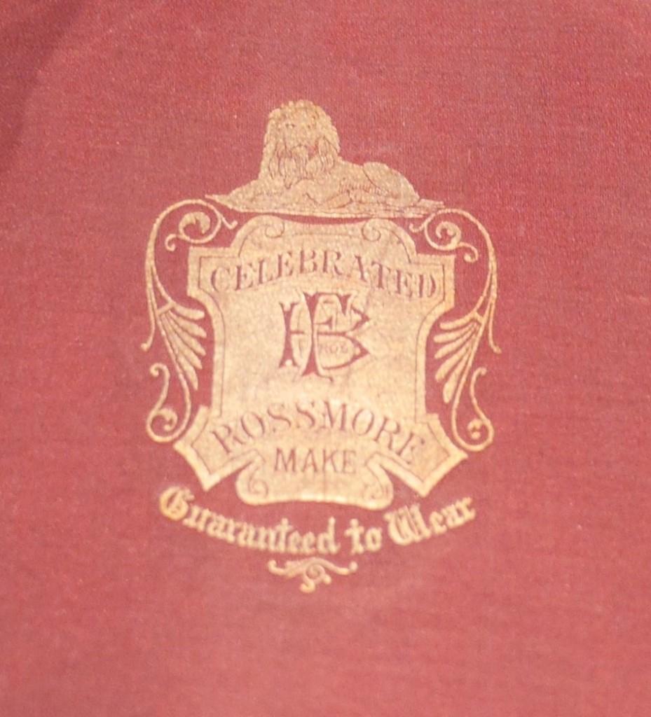 """""""Celebrated Rossmore Make"""" emblem inside hat"""