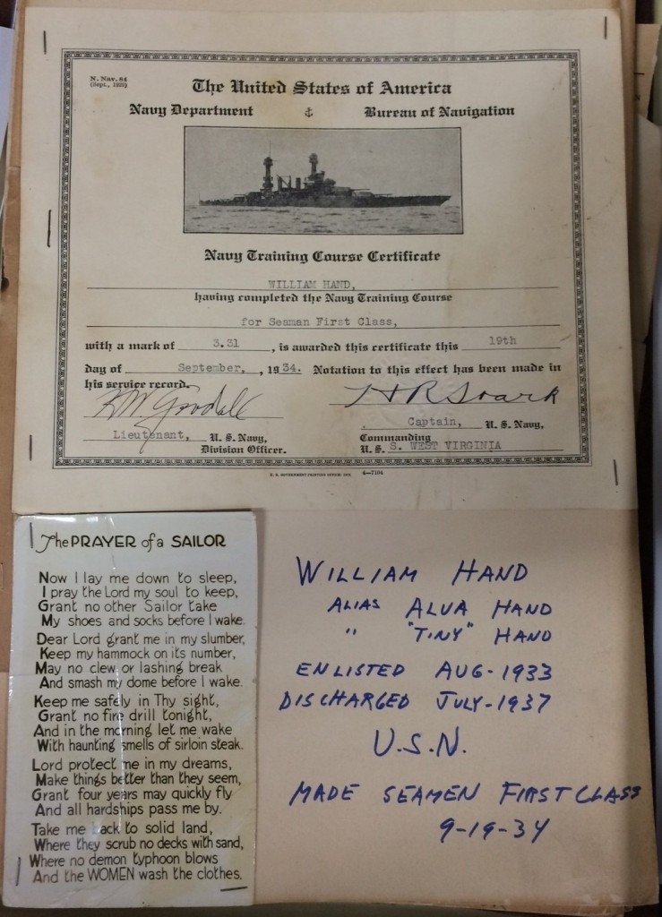 Page from William Hand's scrapbook