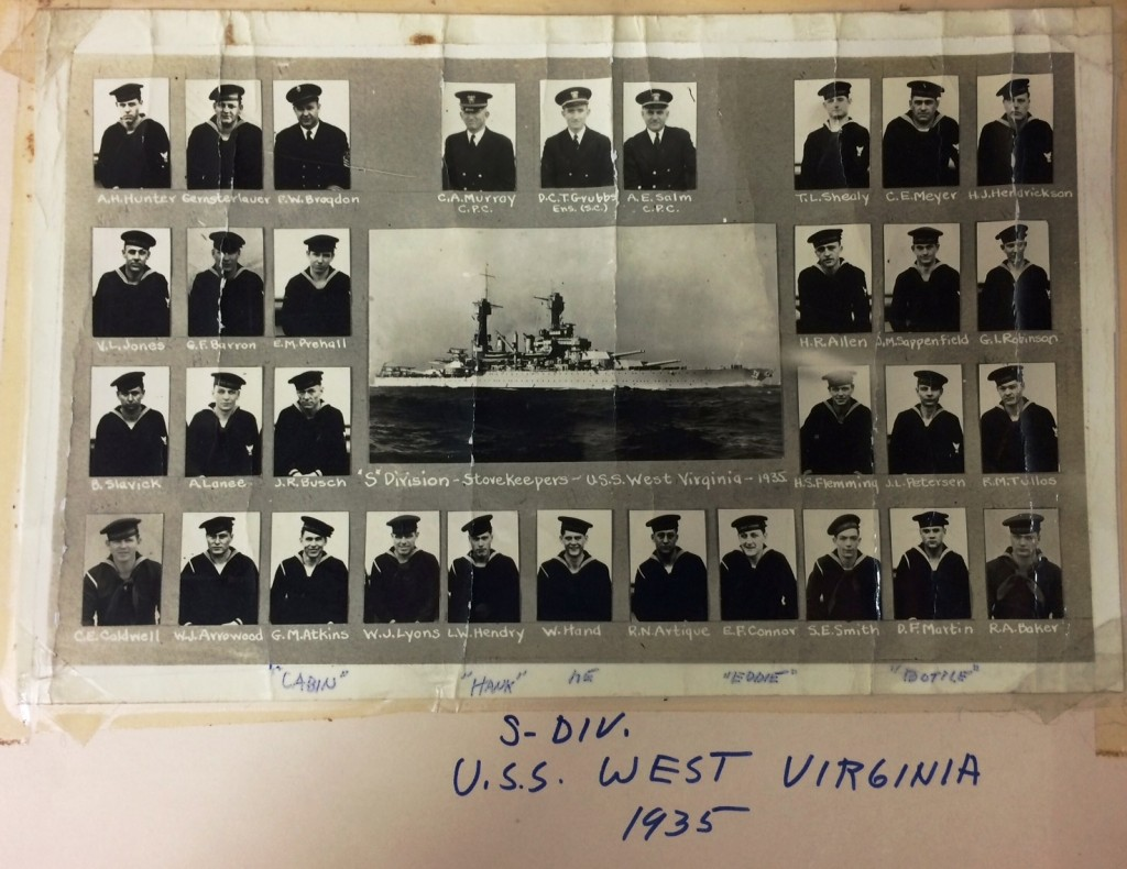 Photos of part of the USS WV crew, 1935