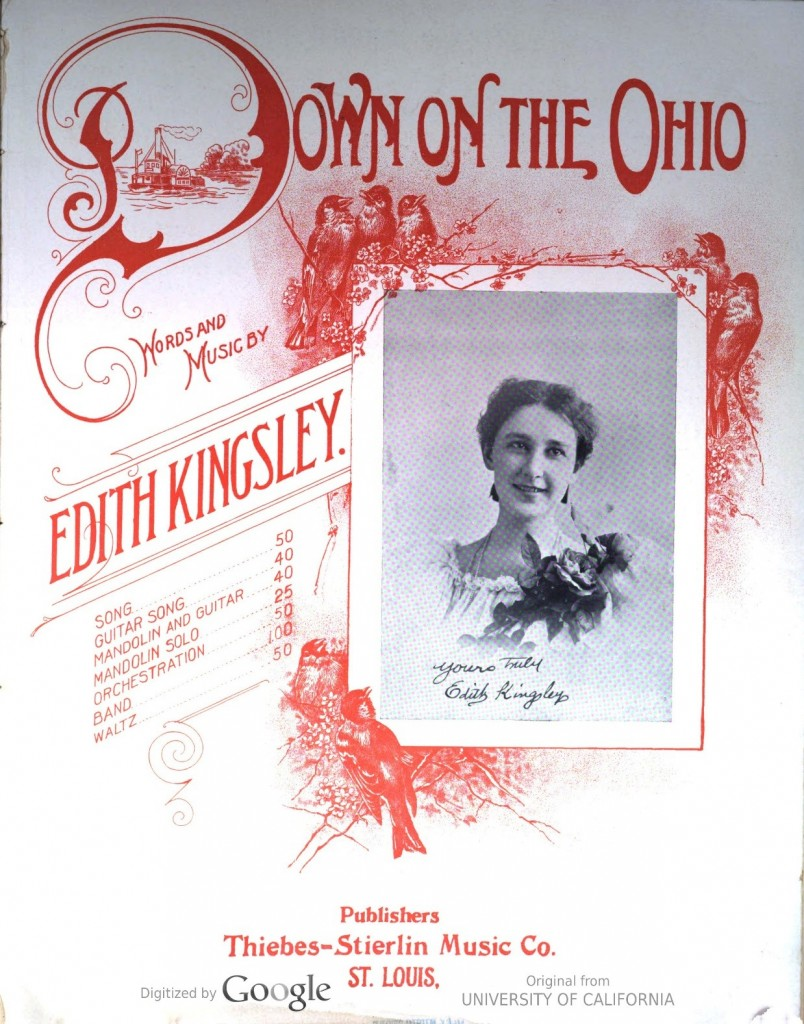 "Cover of sheet music for ""Down on the Ohio"""