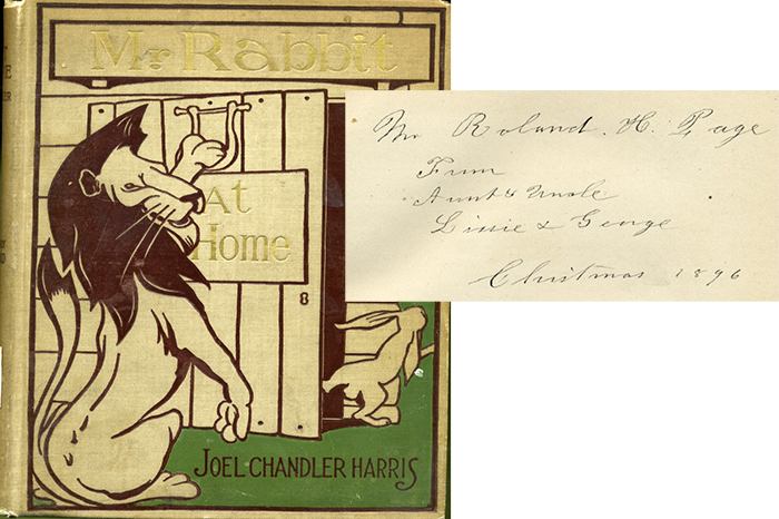 Book cover and inscription from Chandler Harris' Mr. Rabbit at Home