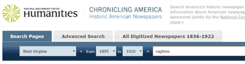 Screenshot of a Chronicling America Search Query