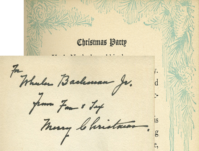 Illustrated page and inscription from Uncle Noah's Christmas Party by Leona Dalrymple