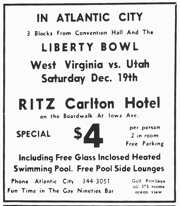 Ad for the Ritz Carlton Hotel for the Liberty Bowl game in 1964