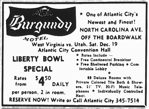 Ad for the Burgundy Motel for the Liberty Bowl game in 1964