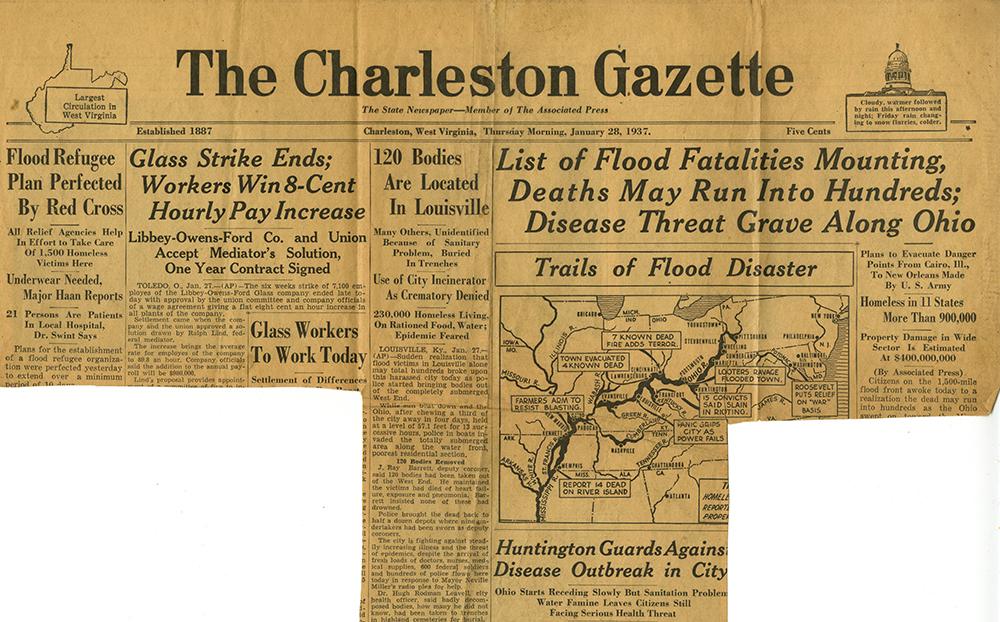 Part of front page of Charleston Gazette, Jan. 28, 1937