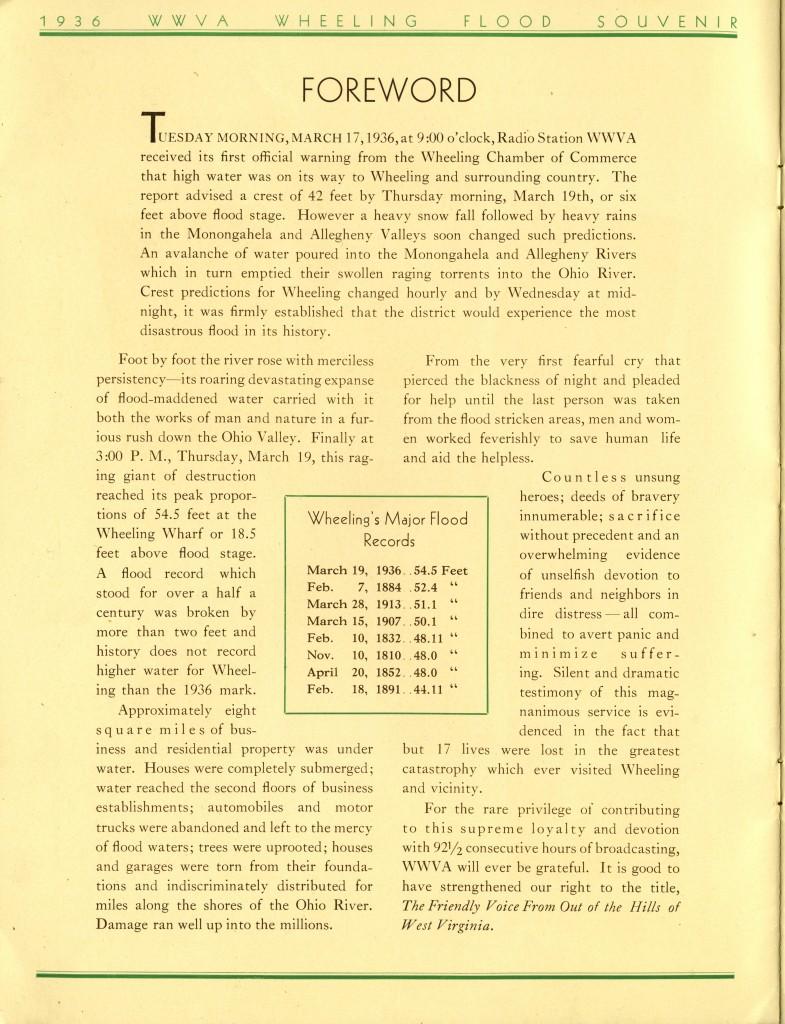 Foreword of 1936 WWVA Wheeling Flood Souvenir booklet