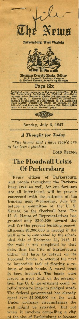 """Newspaper clipping, """"The Floodwall Crisis of Parkersburg"""""""
