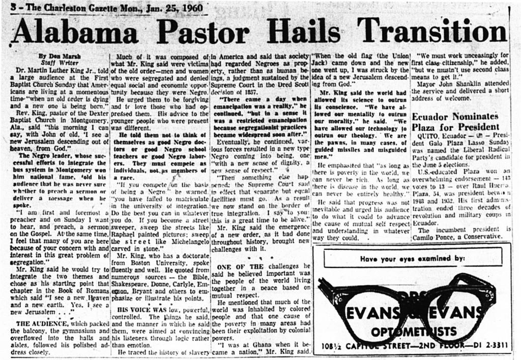Clipping from Jan. 25, 1960 about MLK Speech at First Baptist in Charleston