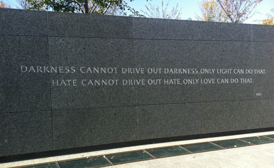 """Darkness cannot drive out darkness, only light can do that. Hate cannot drive out hate, only love can do that."" MLK Quote, 1963"