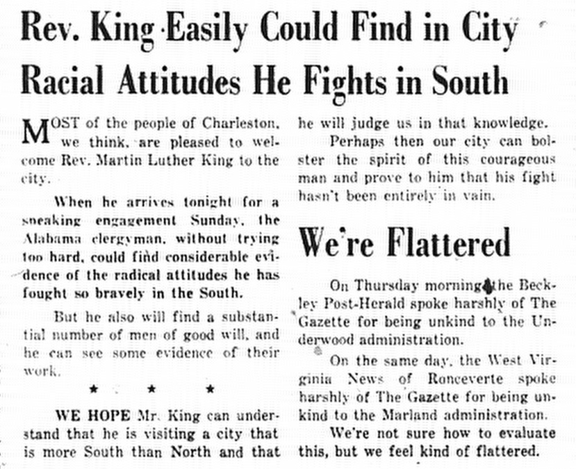 Clipping about MLK Visit and Racial Attitudes in Charleston