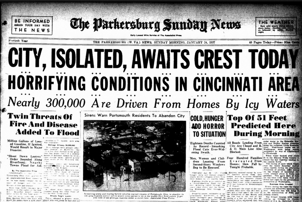 Front page of Parkersburg News, Jan. 24, 1937