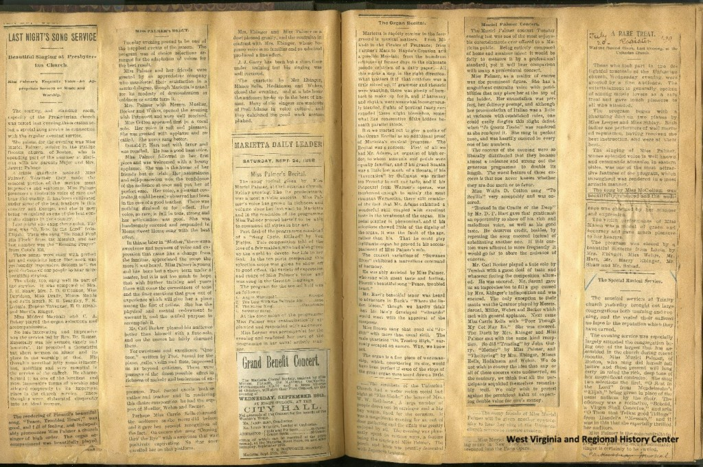Newspaper clippings pasted in a patented Mark Twain scrapbook