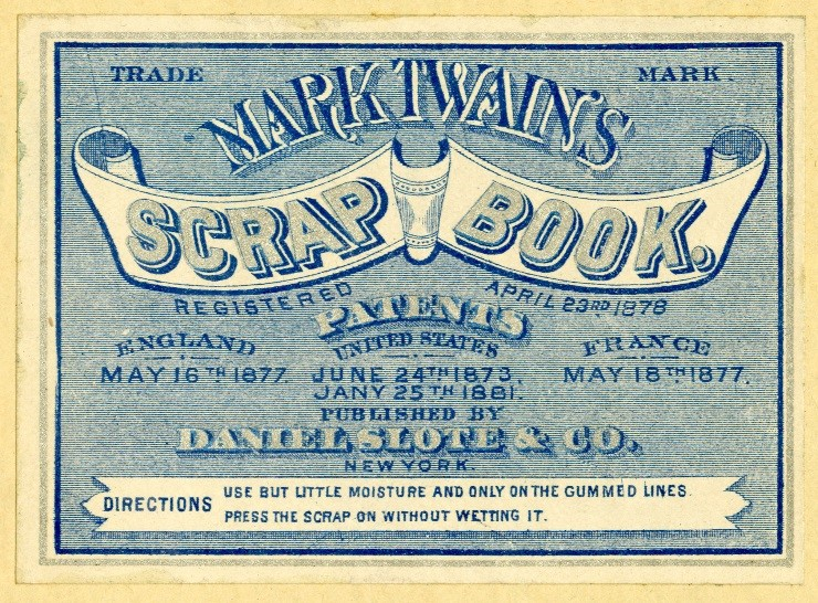Label inside a trademark Mark Twain Scrapbook