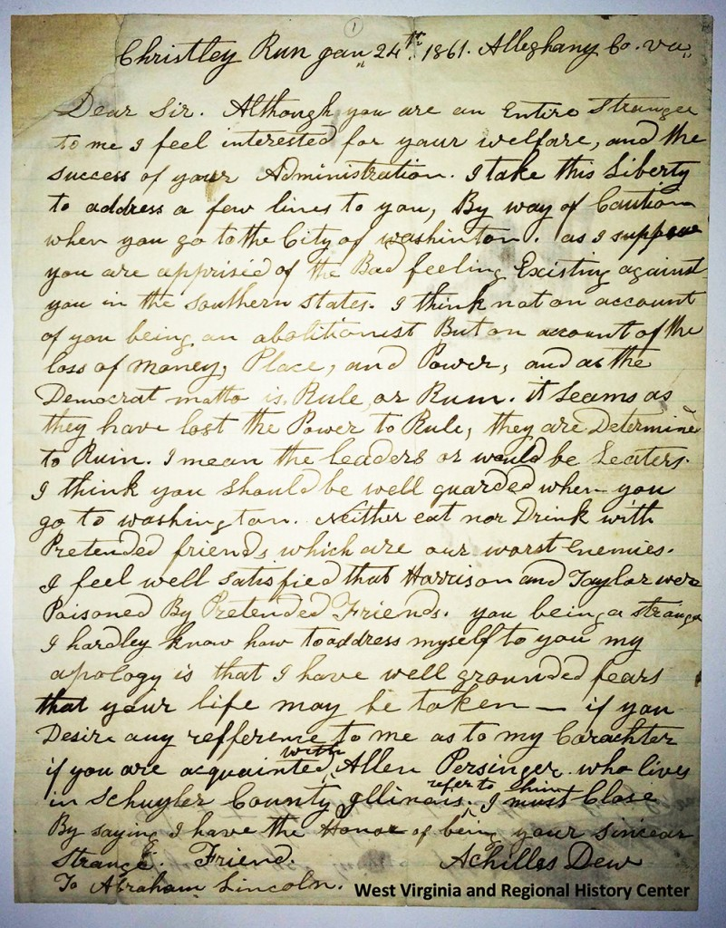 Letter from Achilles Dew to President Lincoln