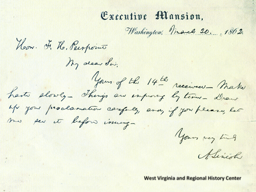 Transcribed telegram from Abraham Lincoln to Francis Pierpont