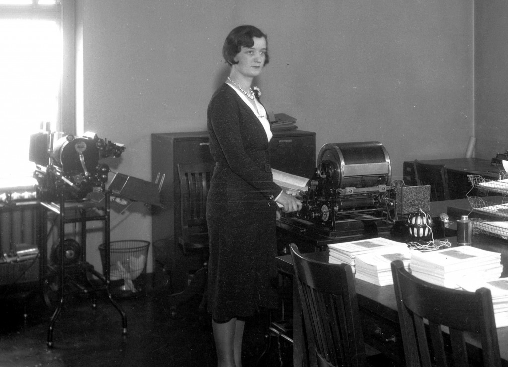Woman and mimeograph