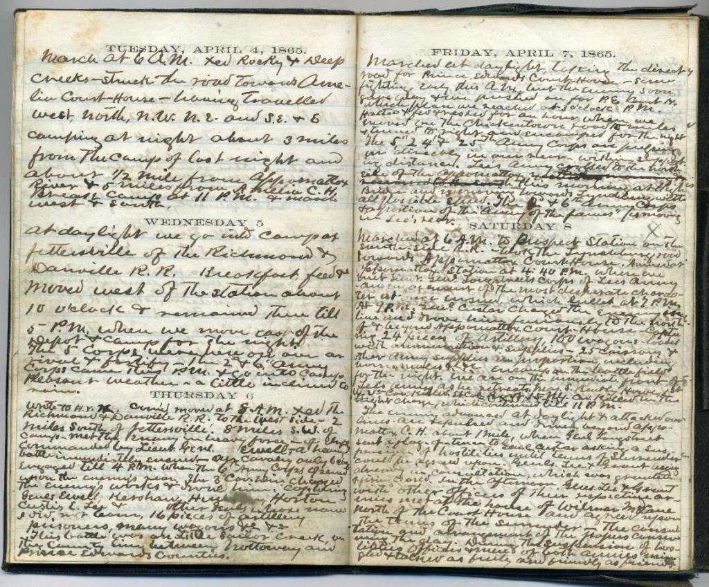 Fabricus Cather's Diary pages, April 4-9, 1865